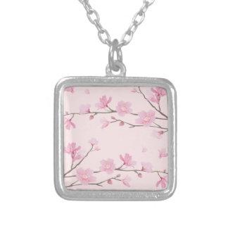 Colar Banhado A Prata Flor de cerejeira - rosa