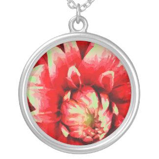 Colar Banhado A Prata Flor vermelha grande