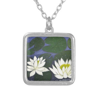 Colar Banhado A Prata Flores brancas de Waterlily, pintura acrílica