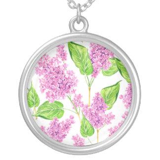 Colar Banhado A Prata Flores cor-de-rosa do lilac da aguarela