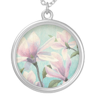 Colar Banhado A Prata Flores cor-de-rosa do sul