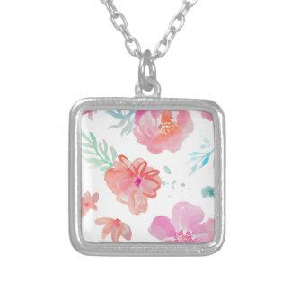 Colar Banhado A Prata Flores cor-de-rosa românticas da aguarela