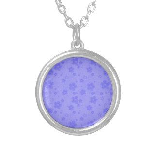 Colar Banhado A Prata Flores de papel azuis do Lilac