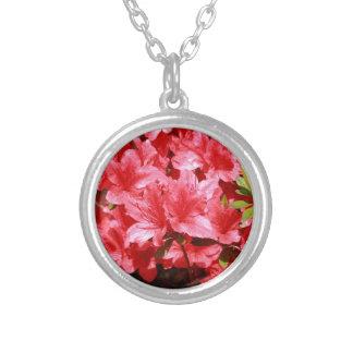 Colar Banhado A Prata flores do vermelho da azálea