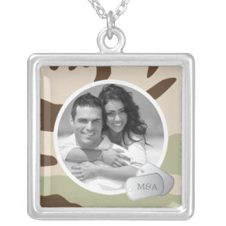 Colar Banhado A Prata Foto customizável & dog tags
