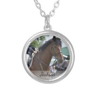 Colar Banhado A Prata Foto equestre personalizada & nome da equitação