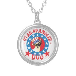 Colar Banhado A Prata Fox patriótico Terrier do brinquedo