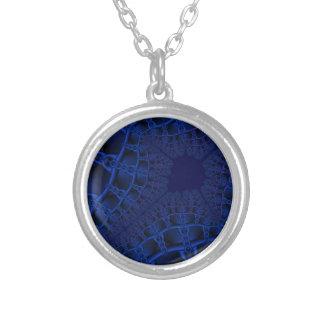 Colar Banhado A Prata Fractal azul elétrico