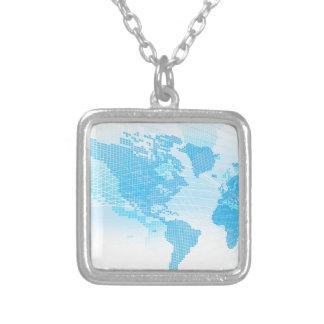 Colar Banhado A Prata Fundo global do abstrato da terra do mapa do mundo