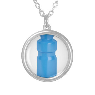 Colar Banhado A Prata Garrafa plástica azul