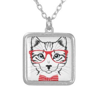 Colar Banhado A Prata gato com vidros