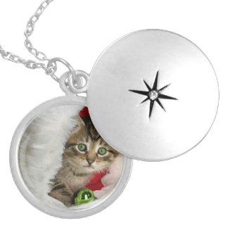 Colar Banhado A Prata Gato do Natal - gato do gatinho - gatos bonitos