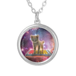 Colar Banhado A Prata gato do teclado - gato de gato malhado - gatinho
