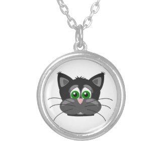 Colar Banhado A Prata gato preto Verde-eyed