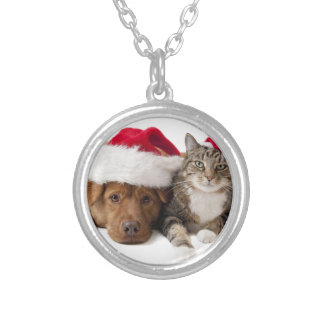 Colar Banhado A Prata Gatos e cães - gato do Natal - cão do Natal