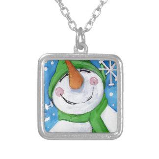 Colar Banhado A Prata Gelado o boneco de neve feliz