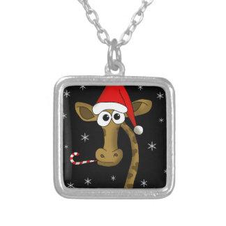 Colar Banhado A Prata Girafa do Natal
