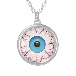 Colar Banhado A Prata Globo ocular azul Bloodshot assustador o Dia das