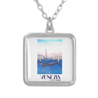 Colar Banhado A Prata Gôndola de Veneza Italia no canal grande com San