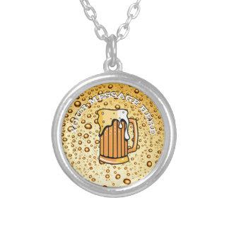 Colar Banhado A Prata Gotas douradas e vidro de cerveja