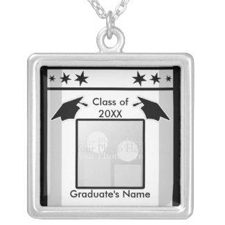 Colar Banhado A Prata Graduação preto, branco e cinzento (quadro da