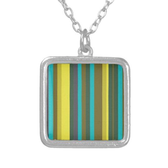 Colar Banhado A Prata Green_stripes