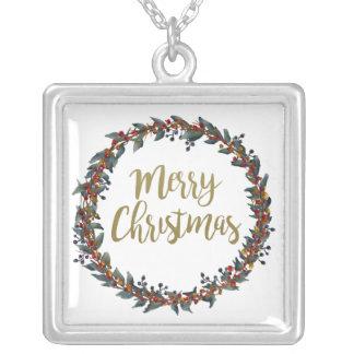 Colar Banhado A Prata Grinalda da aguarela - Feliz Natal - ramos