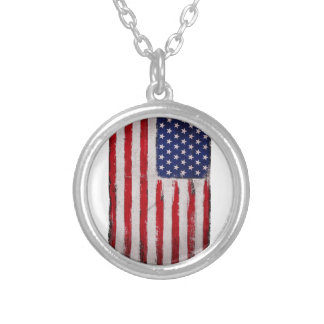 Colar Banhado A Prata Grunge da bandeira dos EUA
