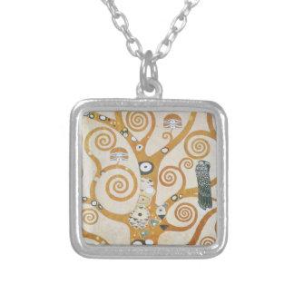 Colar Banhado A Prata Gustavo Klimt a árvore da arte Nouveau da vida