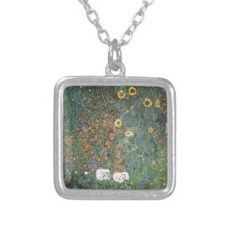 Colar Banhado A Prata Gustavo Klimt - flores dos girassóis do jardim do