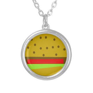 Colar Banhado A Prata Hamburguer do fast food da comida do Hamburger