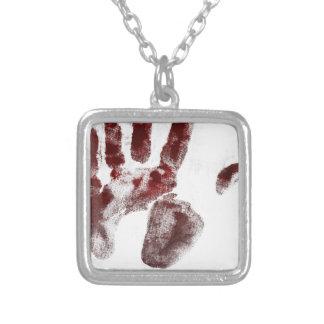 Colar Banhado A Prata Handprint do sangue do assassino em série