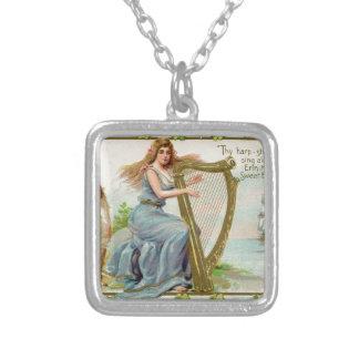 Colar Banhado A Prata Harpa & senhora originais do dia de patrick de