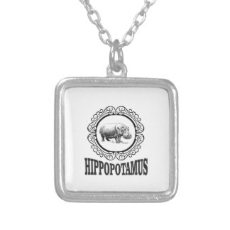 Colar Banhado A Prata Hipopótamo quadro