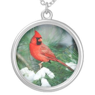 Colar Banhado A Prata Homem cardinal do norte na árvore, IL