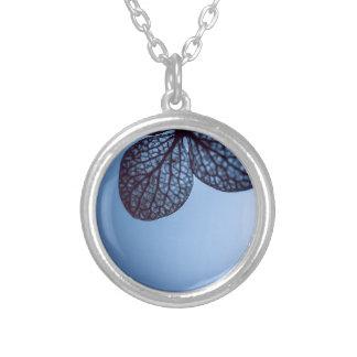 Colar Banhado A Prata Hydrangea azul