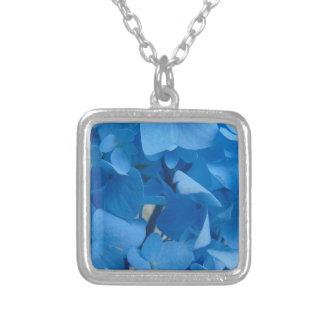 Colar Banhado A Prata Hydrangeas azuis
