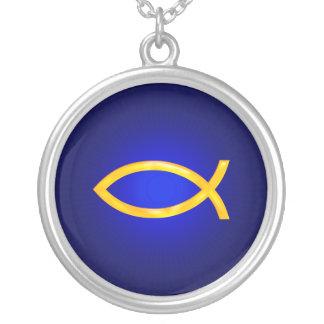Colar Banhado A Prata Ichthus - símbolo cristão dos peixes