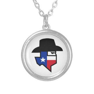 Colar Banhado A Prata Ícone da bandeira de Texas do bandido