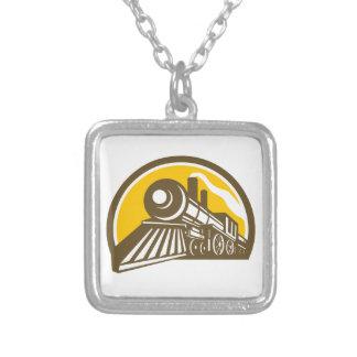 Colar Banhado A Prata Ícone do trem da locomotiva de vapor