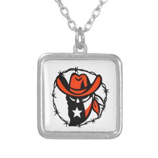 Colar Banhado A Prata Ícone foragido do fio de Barb da bandeira de Texas