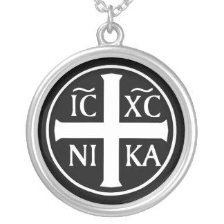 Colar Banhado A Prata Ícone religioso ortodoxo ICXC NIKA Christogram