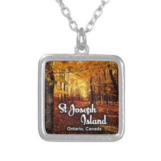 Colar Banhado A Prata Ilha de St Joseph, queda de Ontário Canadá