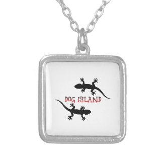 Colar Banhado A Prata Ilha Florida. do cão