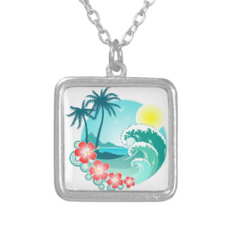 Colar Banhado A Prata Ilha havaiana 3