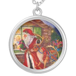 Colar Banhado A Prata Ilustração de Papai Noel - ilustrações do Natal