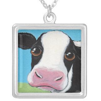 Colar Banhado A Prata Ilustração preto e branco lunática da vaca
