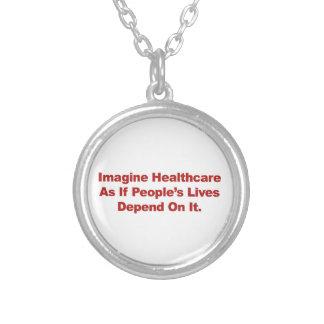 Colar Banhado A Prata Imagine as vidas do pessoa dos cuidados médicos