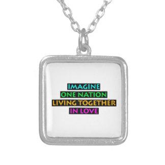 Colar Banhado A Prata Imagine uma nação viver junto no amor