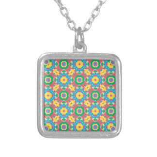 Colar Banhado A Prata Impressão colorido geométrico
